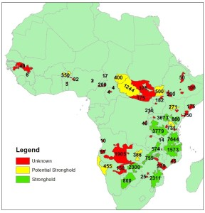 Lion strongholds around Africa